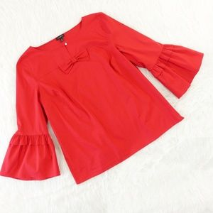 Talbots Red Bell Sleeve Bow Front Blouse
